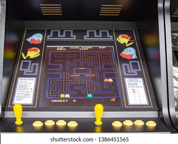 TERRASSA, SPAIN-MARCH 19, 2019: Screen and controls of Pac-Man arcade/coin-op machine in the National Museum of Science and Technology of Catalonia