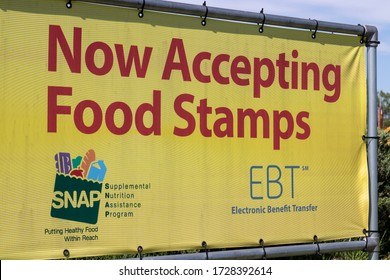 Terre Haute - Circa May 2020: SNAP and EBT Accepted here sign. SNAP and Food Stamps provide nutrition benefits to supplement the budgets of disadvantaged families.