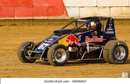 TERRE HAUTE, IN - JULY 15: Driver Cole Whitt of 67k Red Bull Machine in action at Terre Haute Action Track during Indiana Sprint Car Week on July 15, 2009 in Terre Haute, Indiana.