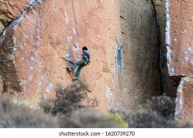 Terrebonne, Oregon, USA - October 22, 2018: Climbers on one of the rock walls of Smith Rock State Park, Oregon, USA.