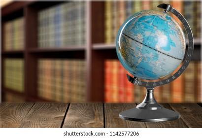 Terrestrial globe in library