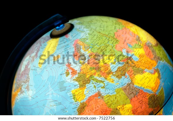 terrestrial globe on black background