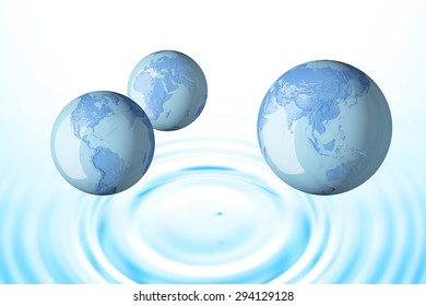 Terrestrial globe, water, ripple