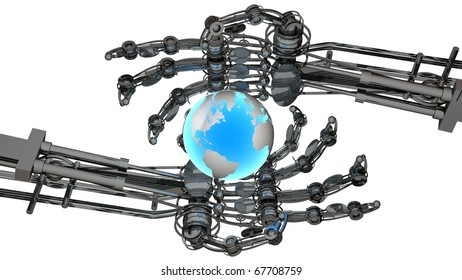Terrestrial sphere (courtesy of NASA wrapped ) in robot hands isolated on white 3D render