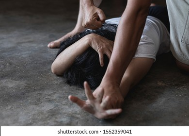 Terrible domestic violence in family. Woman victim of domestic violence and abuse.