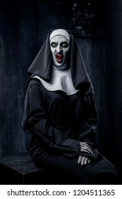 A terrible image of a nun for the holiday Halloween