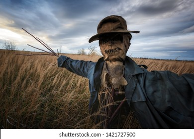 Terrible scarecrow in dark cloak and dirty hat stands alone in a autumn field. Halloween concept closeup