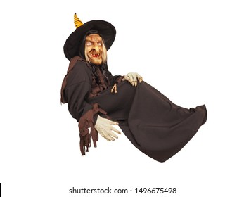 Terrible witch isolated on a white background. Halloween concept.