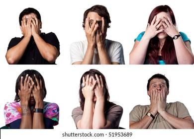 Terrified group of people hide behind their hands