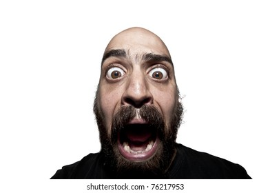 terrified man with a beard on white background