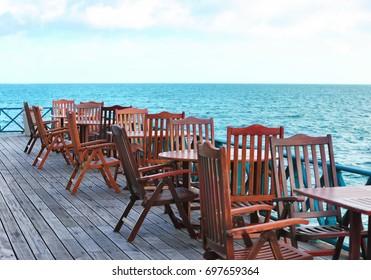 Territory of beach cafe at tropical resort