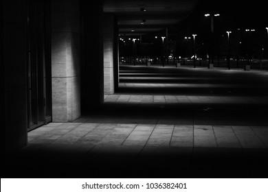 Territory of football stadium Krasnodar at night. Lights and shadow . Modern Architecture.