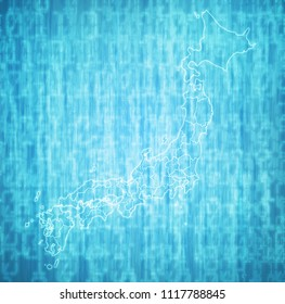 territory of japan prefectures on blue digital map with administrative divisions