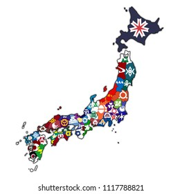 territory of japan prefectures on map with administrative divisions and their flags