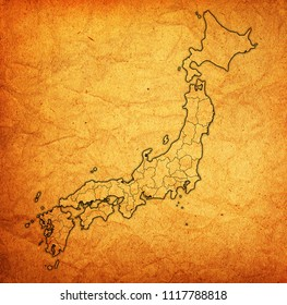territory of japan prefectures on old map with administrative divisions