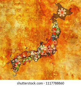 territory of japan prefectures on old map with administrative divisions and their flags