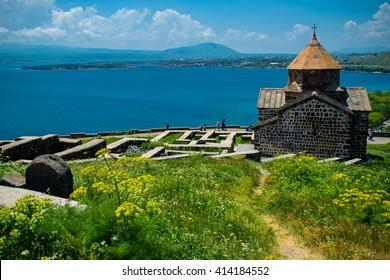 Territory Sevanavank monastery on Sevan lake, Armenia