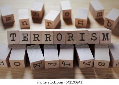 Terrorism Word In Wooden Cube