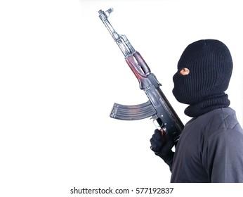 terrorist with ak47 machine gun isolated on white background