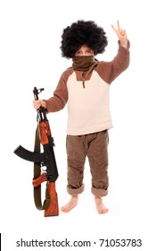 The terrorist with assault rifle on a white background.
