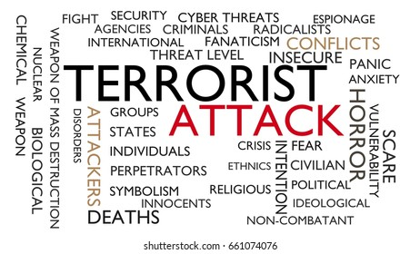 Terrorist attack word tag cloud. 3D rendering, white variant.