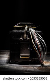 Terrorist bomb made at home with remote controlled detonator and lot of cables. Prepare to terorist act.