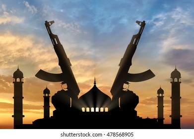 Terrorist concept. Weapons in the hands of terrorist, against the background of the mosque