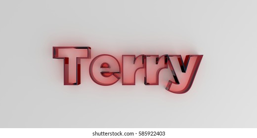 Terry - Red glass text on white background - 3D rendered royalty free stock image.