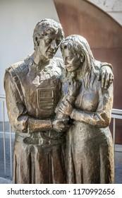 TERUEL, SPAIN - 27 AUGUST 2018. Statue of lovers - Isabel and Juan