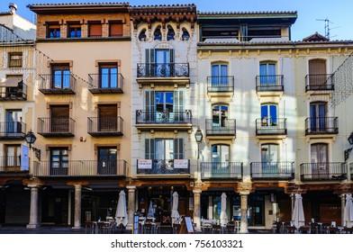 TERUEL, SPAIN - JANUARY 8, 2017: Modernist building facades in the main square in Teruel in Aragon County, Spain