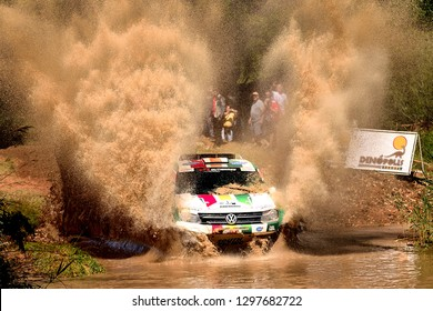 TERUEL, SPAIN - JUL 21 : Bolivian driver  Rodrigo Gutierrez and his codriver Joan Rubi in a Volkswagen Amarok race in the XXXV Baja Spain, on Jul 21, 2018 in Teruel, Spain.