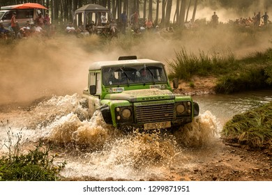 TERUEL, SPAIN - JUL 21 : British driver Richard Hayward and his codriver y John Tomles in a Bowler Bulldog race in the XXXV Baja Spain, on Jul 21, 2018 in Teruel, Spain.