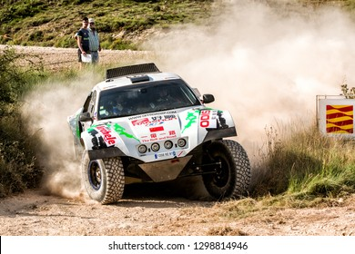 TERUEL, SPAIN - JUL 21 : Chinese driver  Wang Xiang and his codriver Yang Tao in a Volkswagen BV2 race in the XXXV Baja Spain, on Jul 21, 2018 in Teruel, Spain.