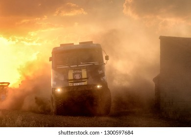 TERUEL, SPAIN - JUL 21 : Czech driver Tomas Vratny and his codrivers Jaromír Martinec and Jaroslav Miškolci  in a Tatra Jamal 4x4 race in the XXXV Baja Spain, on Jul 21, 2018 in Teruel, Spain.