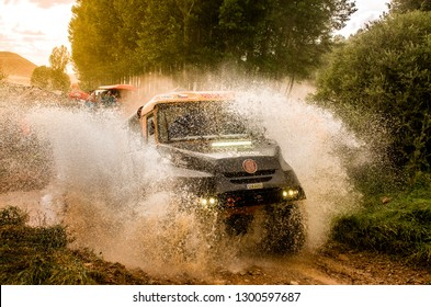 TERUEL, SPAIN - JUL 21 : Czech driver Jaroslav Valtr and his codrivers Radim Kaplánek and Miroslav Zbranek in a Tatra Jamal 4x4 race in the XXXV Baja Spain, on Jul 21, 2018 in Teruel, Spain.