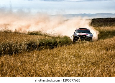TERUEL, SPAIN - JUL 21 : French driver Laurent Poletti and his codriver Cyril Debet in a MMP Rally Raid race in the XXXV Baja Spain, on Jul 21, 2018 in Teruel, Spain.