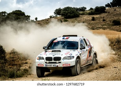 TERUEL, SPAIN - JUL 21 : French driver Marion Andrieu and his codriver Clémence Favy in a BV8 Sodicar race in the XXXV Baja Spain, on Jul 21, 2018 in Teruel, Spain.