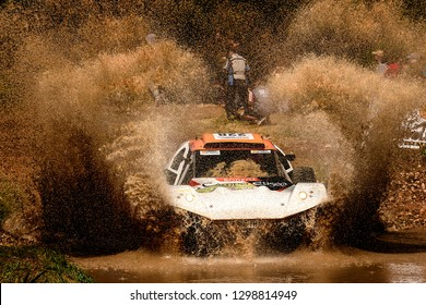 TERUEL, SPAIN - JUL 21 : French driver François Lurton y and his codriver Guillaume Martineau in a BAT Buggye 4X2 race in the XXXV Baja Spain, on Jul 21, 2018 in Teruel, Spain.