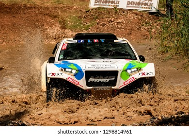 TERUEL, SPAIN - JUL 21 : French driver Nicolas Larroquet and his codriver Bruno Larroquet in a Sans Original MMP Evo Raid race in the XXXV Baja Spain, on Jul 21, 2018 in Teruel, Spain.