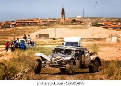 TERUEL, SPAIN - JUL 21 : French driver Michel Dupiech and his codriver Ludovic Maurice in a Sans Original race in the XXXV Baja Spain, on Jul 21, 2018 in Teruel, Spain.