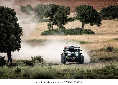 TERUEL, SPAIN - JUL 21 : French driver Fabrice Rousseau and his codriver Eric Cierzniewski in a Can Am Maverick X3 race in the XXXV Baja Spain, on Jul 21, 2018 in Teruel, Spain.