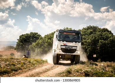 TERUEL, SPAIN - JUL 21 : French driver Richard Gonzalez and his codriver Jean-Philippe Salviat and Melanie Gonzalez in a DAF CF T4 race in the XXXV Baja Spain, on Jul 21, 2018 in Teruel, Spain.