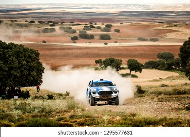 TERUEL, SPAIN - JUL 21 : Hungarian driver Pal Lonyai and his codriver Zoli Garamvolgyi in a Porsche Macan race in the XXXV Baja Spain, on Jul 21, 2018 in Teruel, Spain.