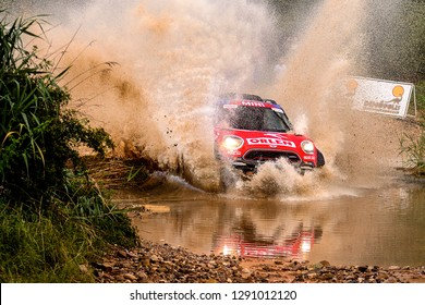 TERUEL, SPAIN - JUL 21 : Polish driver Jakub Przygonski and his codriver Tom Colsoul in a Mini All4 Racing race in the XXXV Baja Spain, on Jul 21, 2018 in Teruel, Spain.