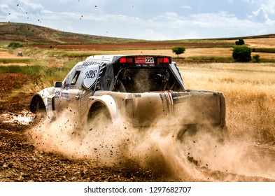 TERUEL, SPAIN - JUL 21 : Portuguese driver Luis Dias and his codriver Mario Feio in a Nissan WB01 race in the XXXV Baja Spain, on Jul 21, 2018 in Teruel, Spain.