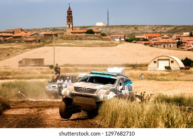 TERUEL, SPAIN - JUL 21 : Portuguese driver Paulo Rui Ferreira and his codriver Jorge Monteiro in a Toyota Hilux race in the XXXV Baja Spain, on Jul 21, 2018 in Teruel, Spain.