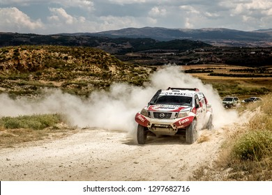 TERUEL, SPAIN - JUL 21 :Portuguese driver Paulo Casaca and his codriver Paulo Torres in a Nissan Navara race in the XXXV Baja Spain, on Jul 21, 2018 in Teruel, Spain.