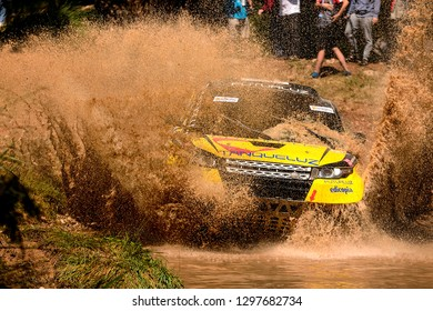 TERUEL, SPAIN - JUL 21 : Portuguese driver Lino Helder Pereiro Carapeta and his codriver Rui Manuel Antonio in a Range Rover Evoque Proto race in the XXXV Baja Spain, on Jul 21, 2018 in Teruel, Spain