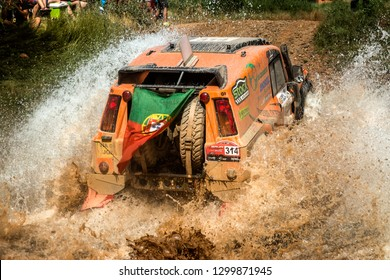 TERUEL, SPAIN - JUL 21 : Portuguese driver Filipe Viddeira and his codriver Pedro Colaço in a Bowler Wildcat race in the XXXV Baja Spain, on Jul 21, 2018 in Teruel, Spain.