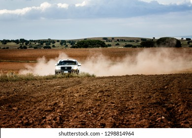 TERUEL, SPAIN - JUL 21 : Qatari driver Ahmed Al Shegawi and his codriver Aleksey Kuzmich in a Toyota Land Cruiser 200 race in the XXXV Baja Spain, on Jul 21, 2018 in Teruel, Spain.
